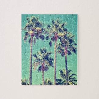 Puzzle Palmiers vintages tropicaux sur Teal