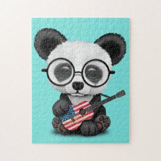 Puzzle Panda de bébé jouant la guitare de drapeau