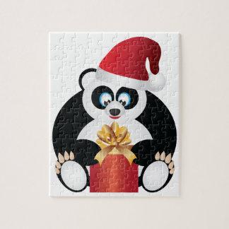 Puzzle Panda se reposant avec le présent s'ouvrant de