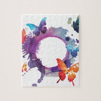 Puzzle Papillons en pastel d'aquarelle autour d'un anneau