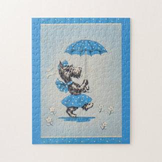 Puzzle Parapluie de transport de dame de chien de Scottie