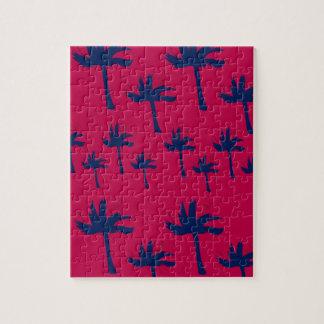Puzzle Paumes d'ethno de conception rouge-foncé