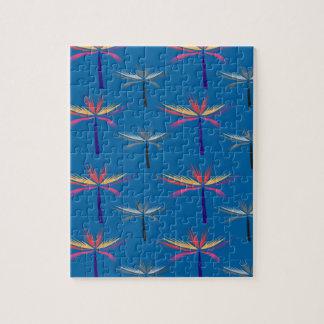 Puzzle Paumes exotiques de conception sur le bleu