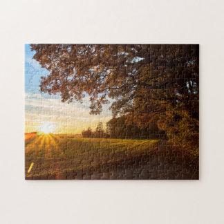 Puzzle Paysage forêt de chêne avec un coucher du soleil