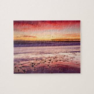 Puzzle Paysage marin et pilier au coucher du soleil, CA