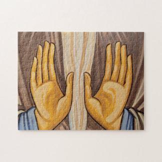 Puzzle Peinture des mains dans une église