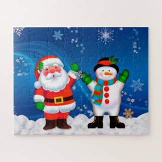 Puzzle Père Noël et bonhomme de neige
