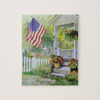 Puzzle Perron colonial de drapeau américain de maison de