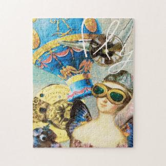 Puzzle Pilote chaud de femme de ballon à air d'art