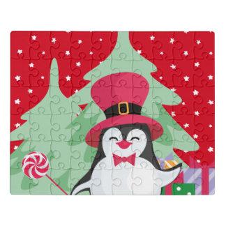 Puzzle Pingouin de fête avec Sleigh - rouge
