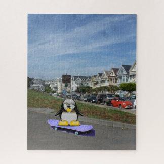 Puzzle Pingouin faisant de la planche à roulettes
