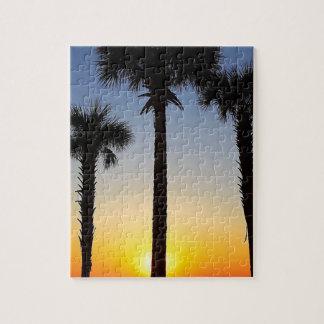 Puzzle Plage de ciel de palmier d'aube d'aube de lever de