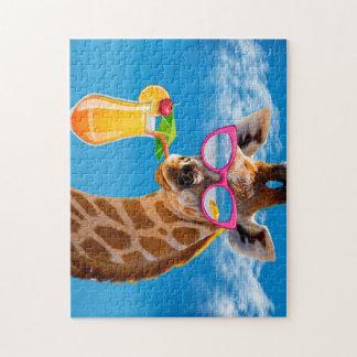 Puzzle Plage de girafe - girafe drôle