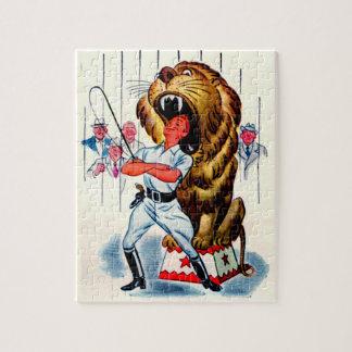 Puzzle plus docile de lion des années 1940 et lion
