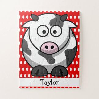Puzzle Point de polka rouge de vache drôle mignonne faite