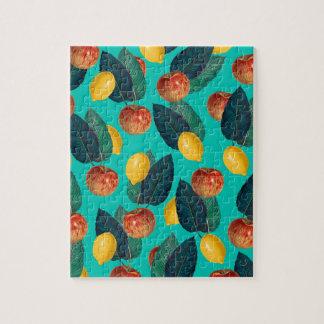 Puzzle pommes et citrons turquoises