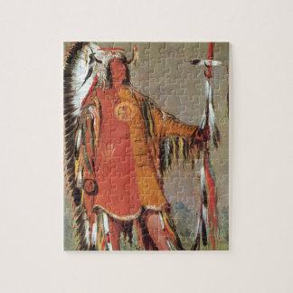 Puzzle Portait de chef indien Mato-Tope par George Catlin
