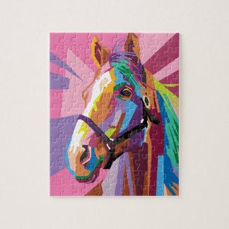 Puzzle Portrait coloré de cheval d'art de bruit