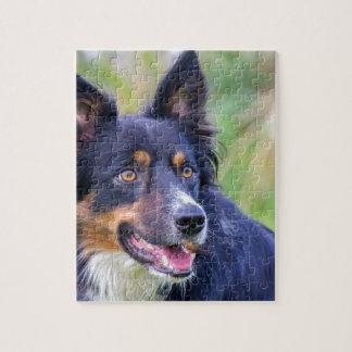 Puzzle Portrait de border collie coloré dog.JPG