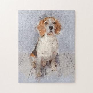 Puzzle Portrait mignon d'aquarelle de beagle
