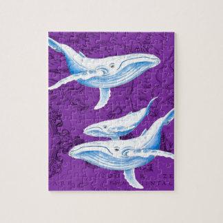 Puzzle Pourpre de famille de baleines bleues