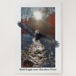 Puzzle Puzzle, Eagle chauve au-dessus de rivière de