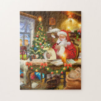 Puzzle Regard antique Père Noël Claud dans l'atelier