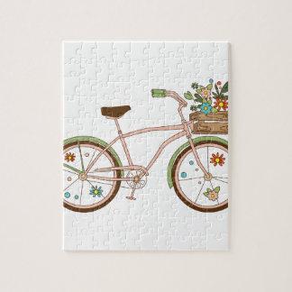 Puzzle Rétro bicyclette avec karzinkoy pour des fleurs