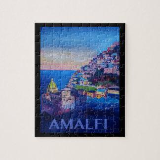 Puzzle Rétro côte Italie d'Amalfi d'affiche