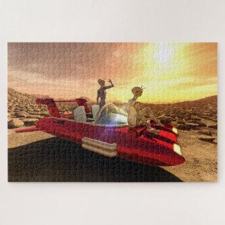 Puzzle Rétro coucher du soleil de la science fiction sur