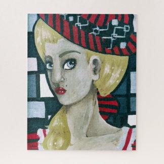 Puzzle Rétro portrait inspiré de Madame Big Hat et yeux