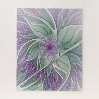 Puzzle Rêve de fleur, art vert pourpre abstrait de