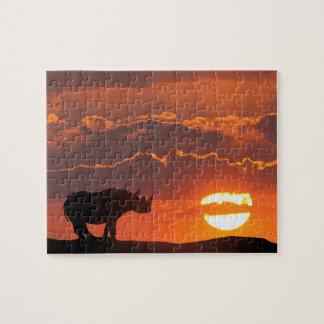 Puzzle Rhinocéros au coucher du soleil, masai Mara, Kenya