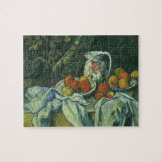 Puzzle Rideau et broc fleuri par Paul Cezanne