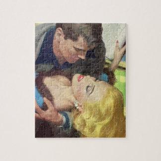 Puzzle romance chaud de bureau des années 1950