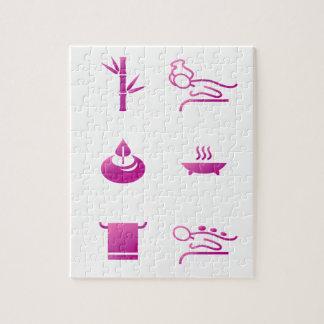 Puzzle Rose d'icônes de santé sur le blanc