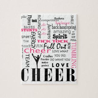 Puzzle rose et noir cheerleading d'acclamation