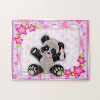 Puzzle rose mignon d'ours panda de bébé
