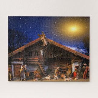Puzzle rougeoyant de photo d'étoile de nativité