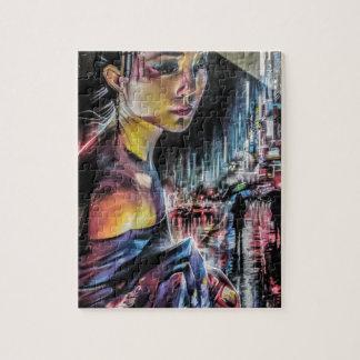 Puzzle Rues japonaises de fille de geisha de la peinture
