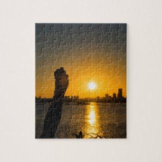Puzzle Scène de paysage urbain de coucher du soleil,