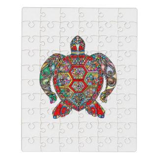Puzzle Schéma ornemental floral décoratif tortue de mer