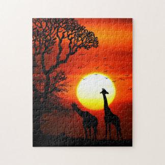 Puzzle Silhouettes africaines de girafe de coucher du