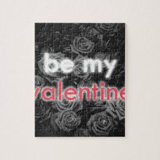 Puzzle Soyez mon bouquet rose de Valentine sur noir et