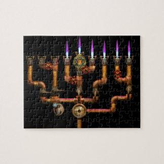Puzzle Steampunk - tuyauterie - allumage du Menorah
