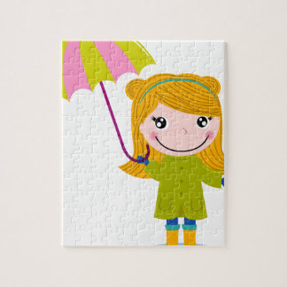 Puzzle T-shirts pluvieux blonds de fille