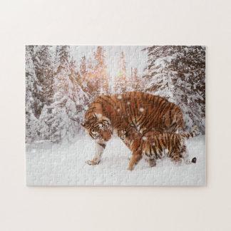 Puzzle Tigre affectueux et CUB de mère appréciant la