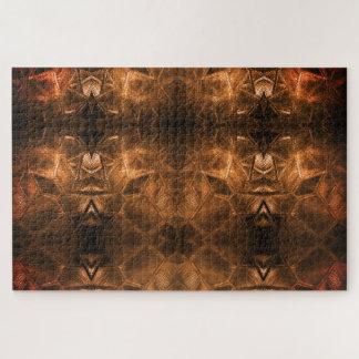 Puzzle Tons chauds d'or de style tribal ardent en verre