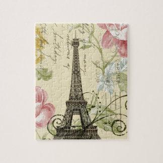 Puzzle Tour Eiffel floral d'élégance de rose minable de