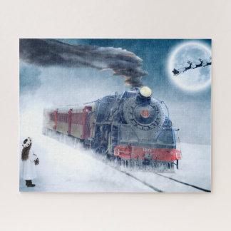 Puzzle Train de minuit de Noël avec la fille et le Père
